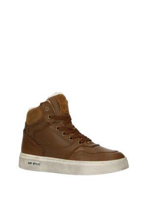 H2535  hoge leren sneakers bruin