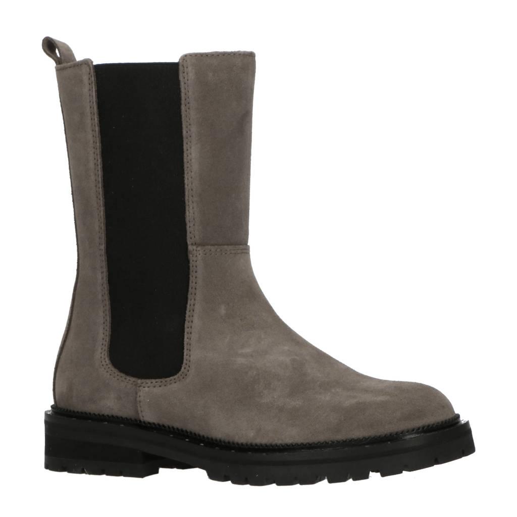 Hip H1422  hoge leren chelsea boots grijs/zwart, Grijs/zwart
