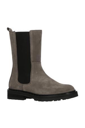 H1422  hoge leren chelsea boots grijs/zwart