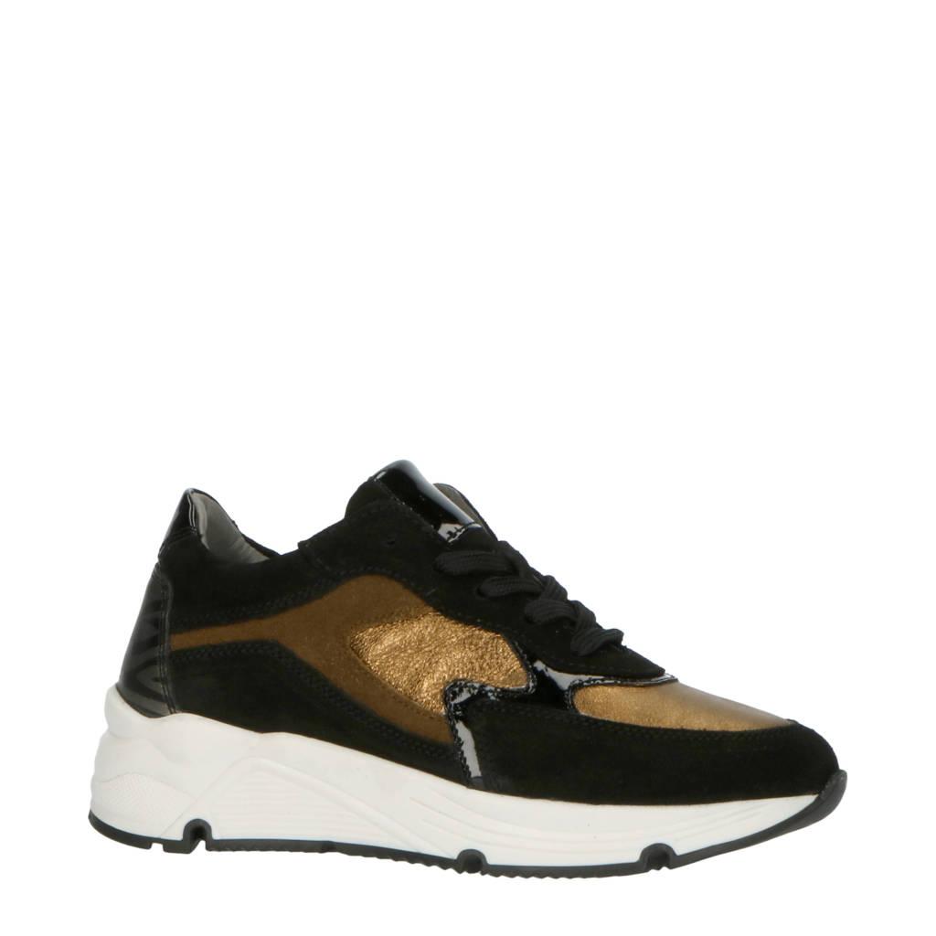 Hip H1473  leren sneakers zwart/goud, Zwart/goud