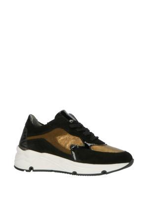 H1473  leren sneakers zwart/goud
