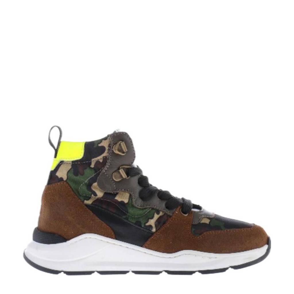Hip H1540  hoge suède sneakers met camouflageprint kaki, Kaki/Multi