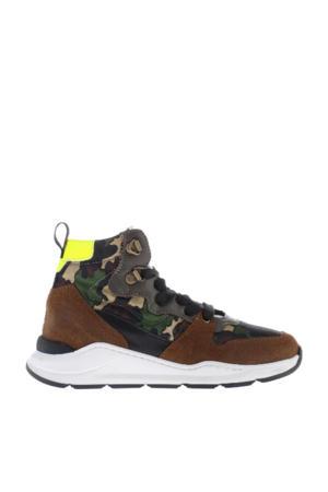 H1540  hoge suède sneakers met camouflageprint kaki