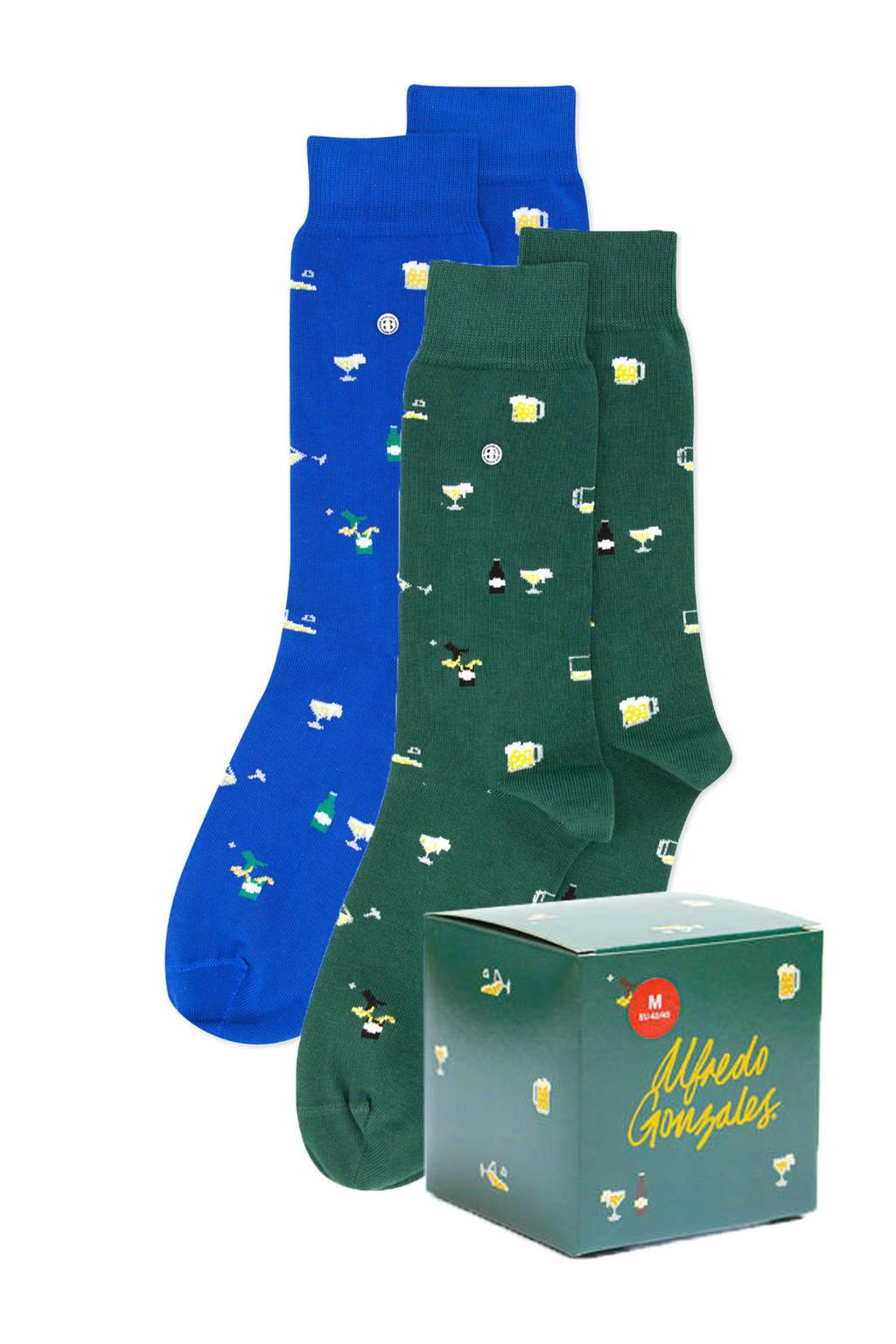 Alfredo Gonzales giftbox sokken Beer - set van 2 groen/blauw, Groen/blauw