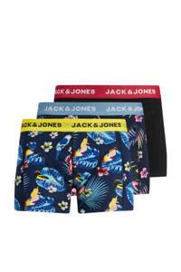 JACK & JONES boxershort JACFLOWER BIRD (set van 3), Zwart/blauw/geel