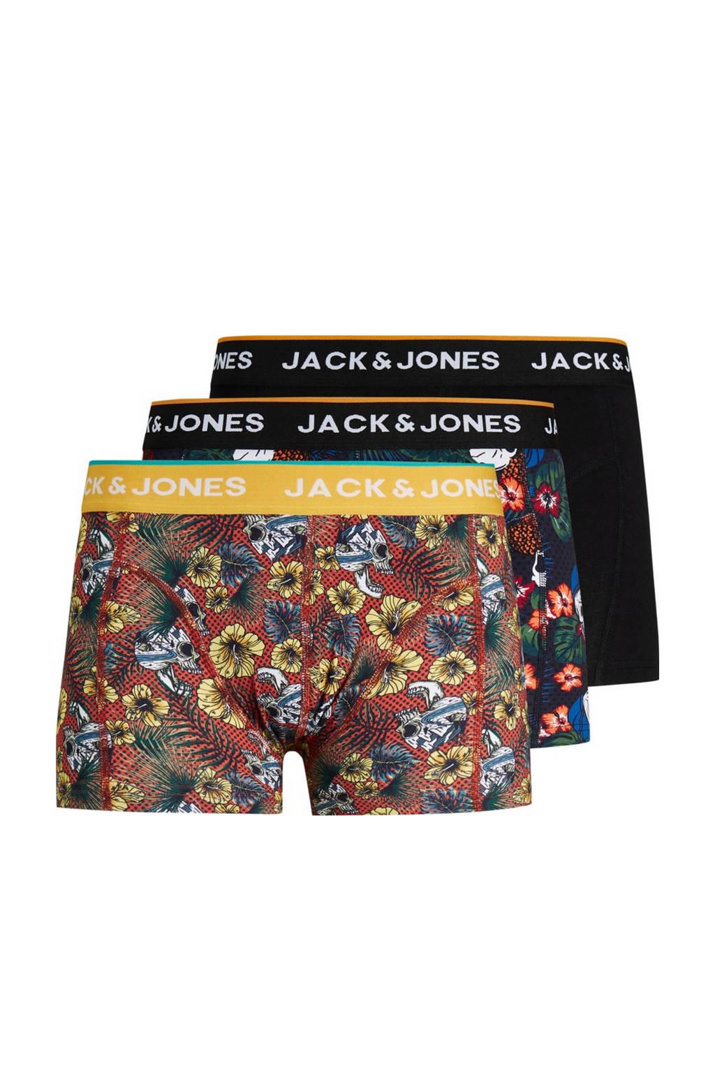 JACK & JONES boxershort JACBRAC (set van 3), Zwart/rood/geel