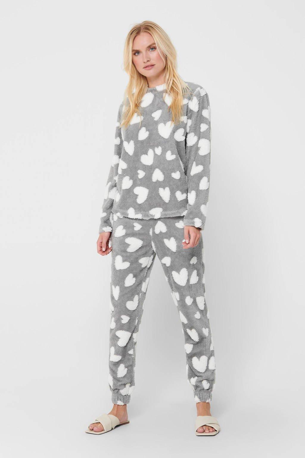 ONLY fleece pyjama Caya met hartjes print grijs/wit, Grijs