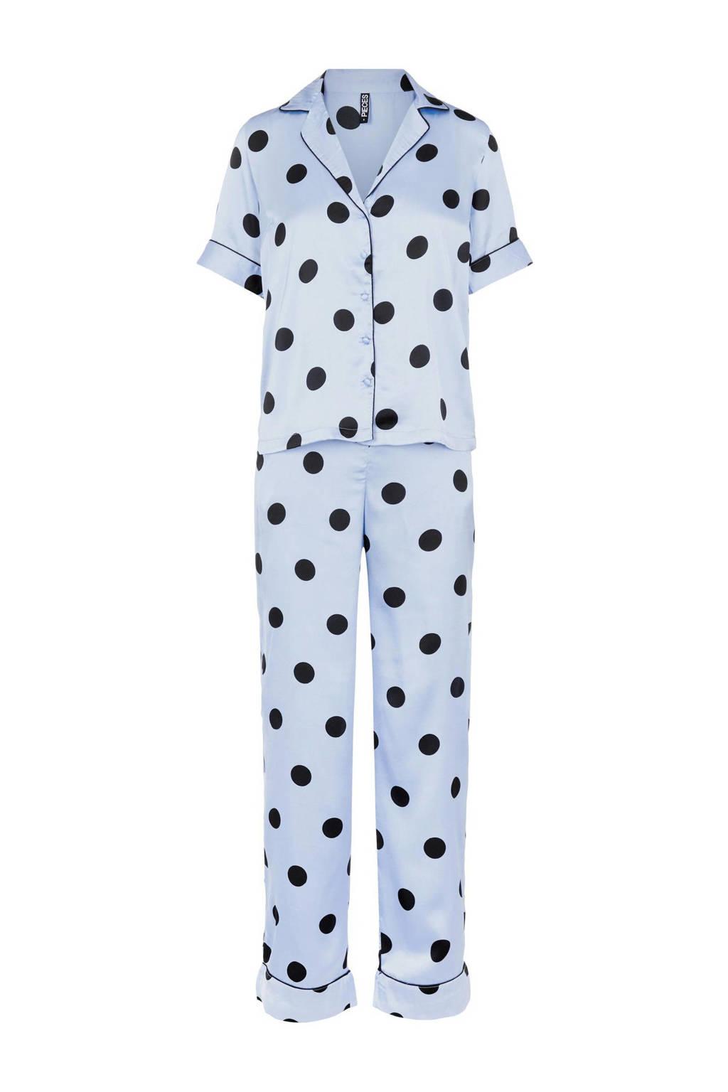 PIECES satijnlook pyjama Andrea met stippen lichtblauw, Lichtblauw