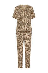 PIECES pyjama Anja met panterprint beige/bruin, Beige/bruin