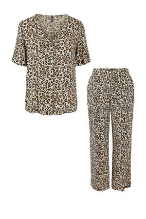 pyjama Anja met panterprint beige/bruin