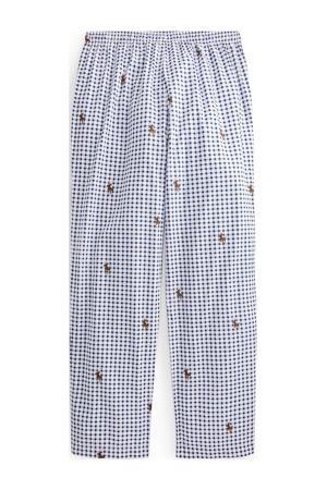 geruite pyjamabroek donkerblauw/wit