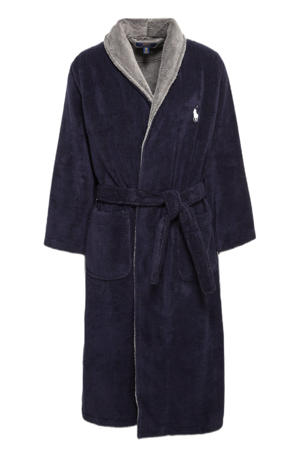 badstof badjas donkerblauw/grijs