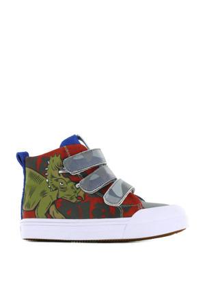 Dinosaur  hoge sneakers met dierenprint rood/blauw