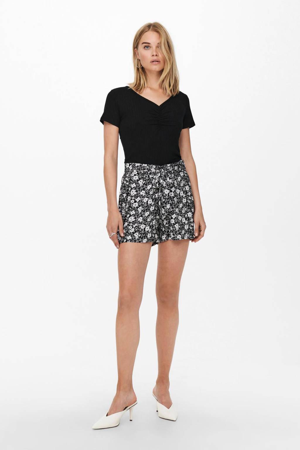 JDY gebloemde straight fit korte broek JDYISAAK zwart/ecru, Zwart/ecru