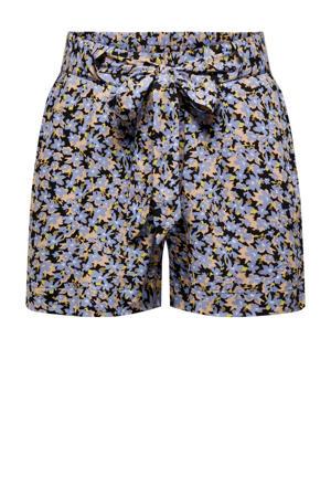 gebloemde straight fit korte broek JDYISAAK paars/bruin/zwart/geel