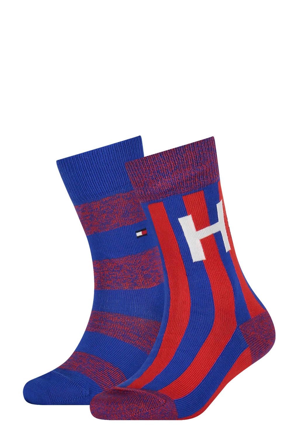 Tommy Hilfiger sokken - set van 2 blauw/rood, Blauw/rood
