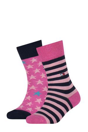 sokken - set van 2 roze/zwart