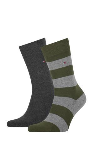 sokken - set van 2 kaki/antraciet