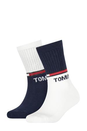 sokken - set van 2 wit/donkerblauw