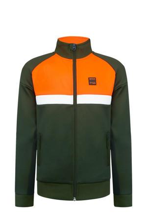 vest Wouter olijfgroen/oranje/wit