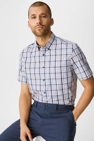geruit regular fit overhemd van biologisch katoen oranje/blauw