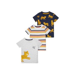T-shirt - set van 3 ecru/donkerblauw/geel