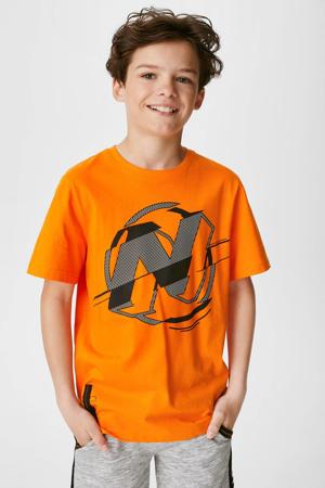 T-shirt van biologisch katoen oranje/zwart/wit