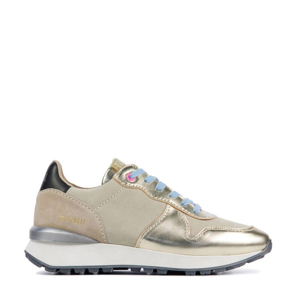 Toral 12637  leren sneakers beige/goud/blauw, Beige/Goud/Blauw