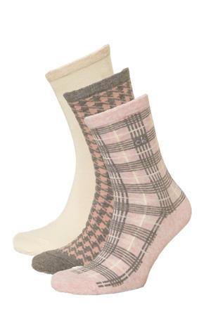 sokken - set van 3 lichtroze/ecru