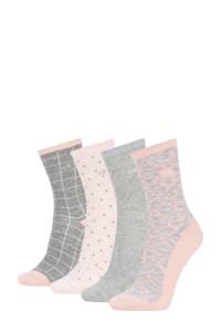 CALVIN KLEIN sokken - set van 4 grijs/roze, Grijs/roze