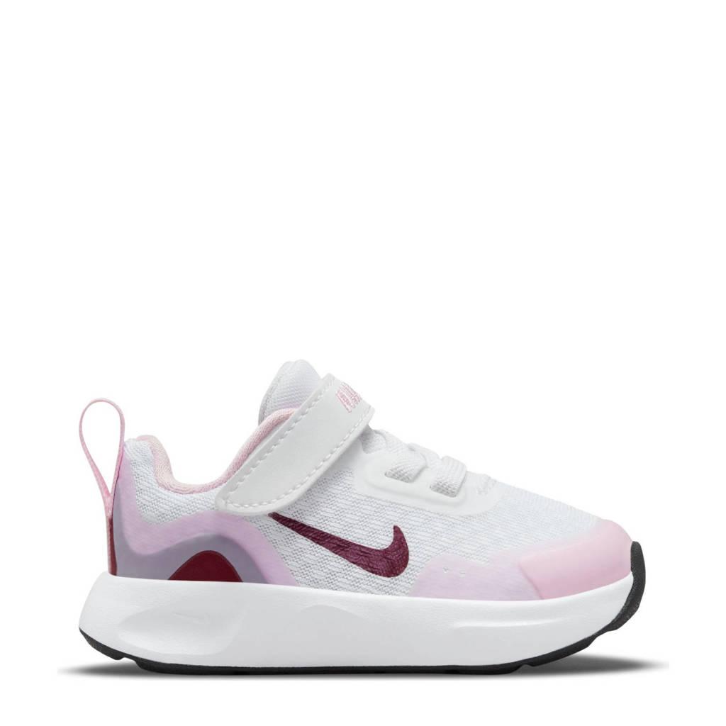 Nike Wearallday  sneakers wit/donkerrood/roze, Wit/zwart/roze