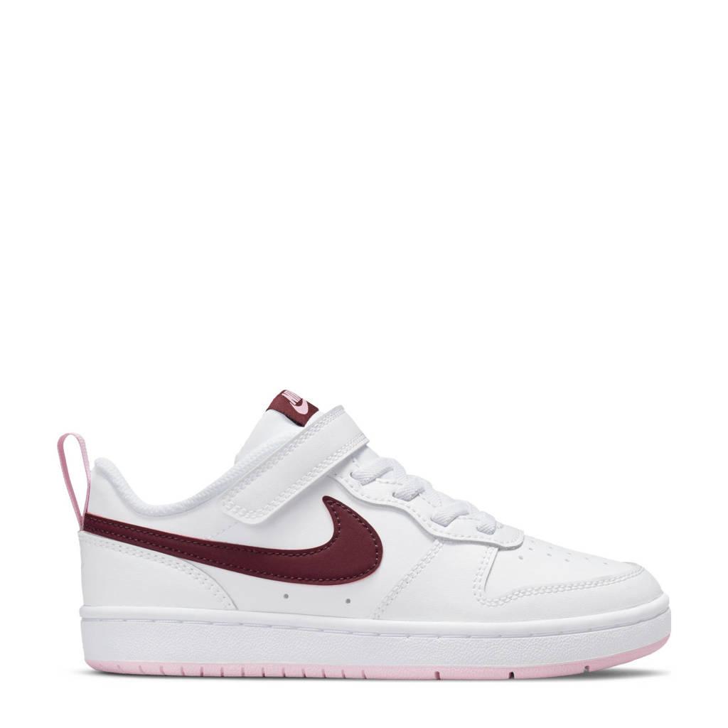 Nike Court Borough Low 2 (GS) sneakers wit/donkerrood/roze, Wit/donkerrood/roze