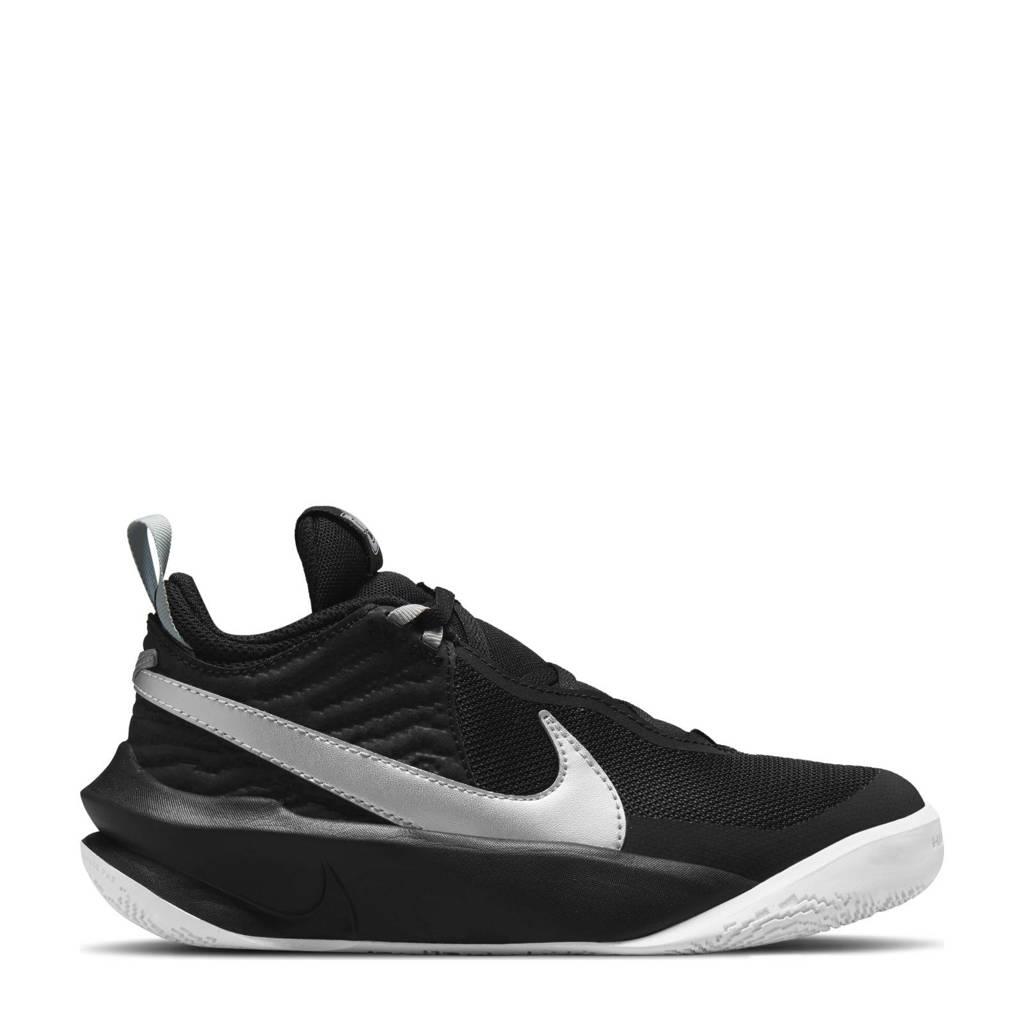 Nike Team Hustle D 10 sneakers zwart/wit/metallic zilver