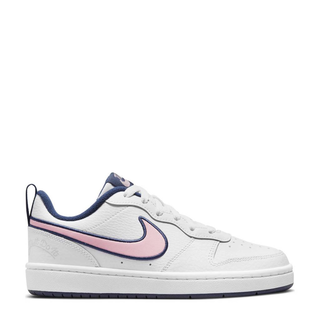 Nike Court Borough Low 2 SE sneakers wit/roze/blauw, Wit/roze/blauw
