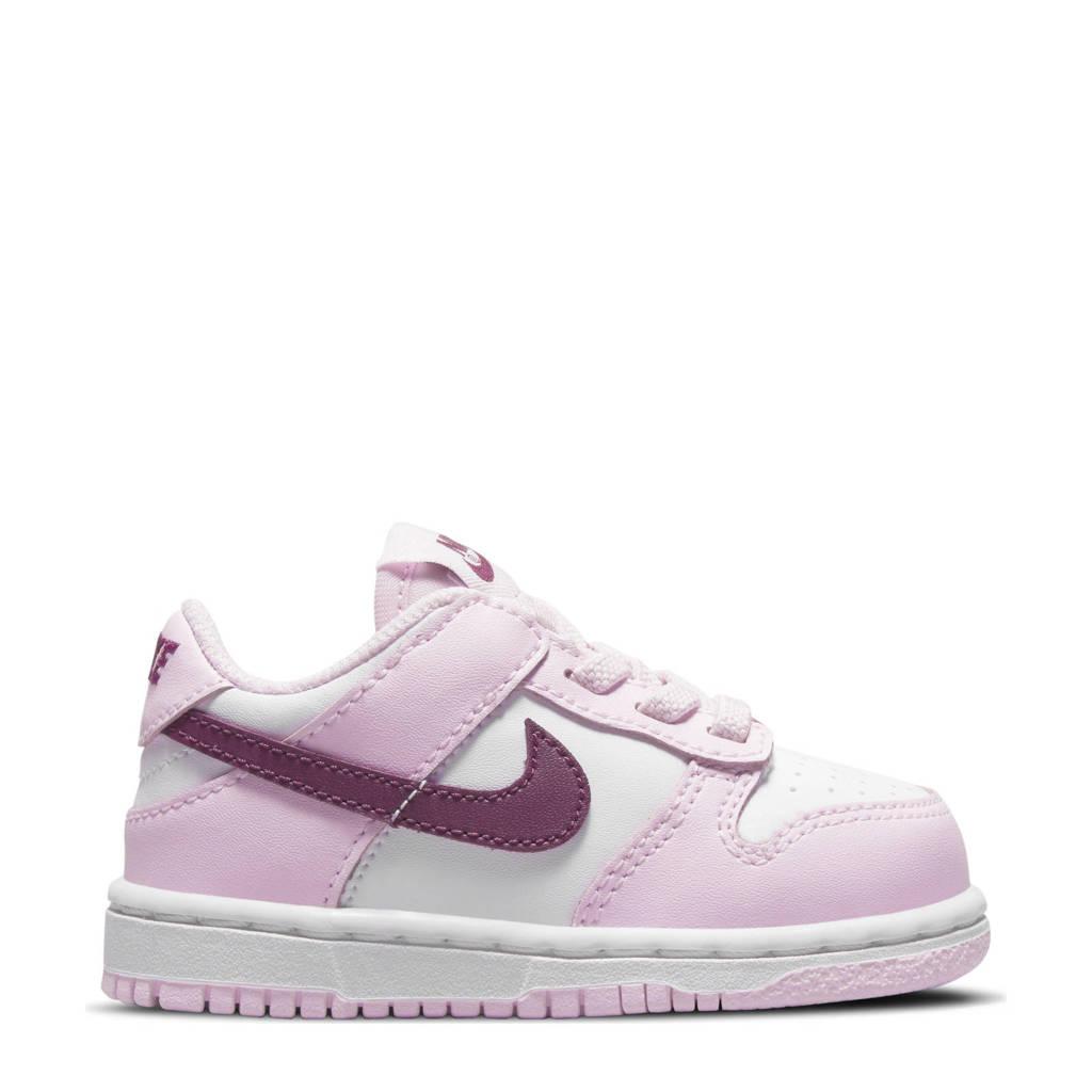 Nike Dunk Low sneakers wit/donkerrood/roze, Wit/donkerrood/roze