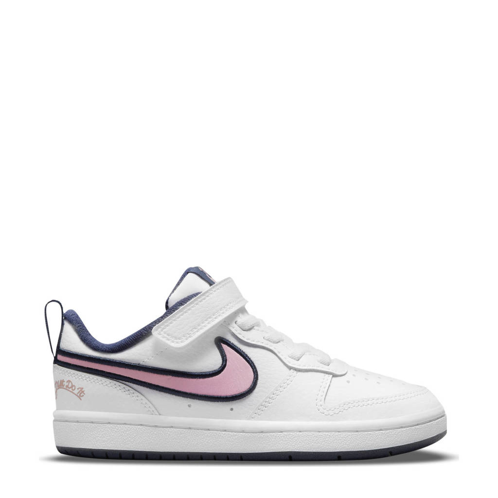 Nike  Court Borough Low 2 SE sneakers wit/roze/donkerblauw, Wit/roze/donkerblauw