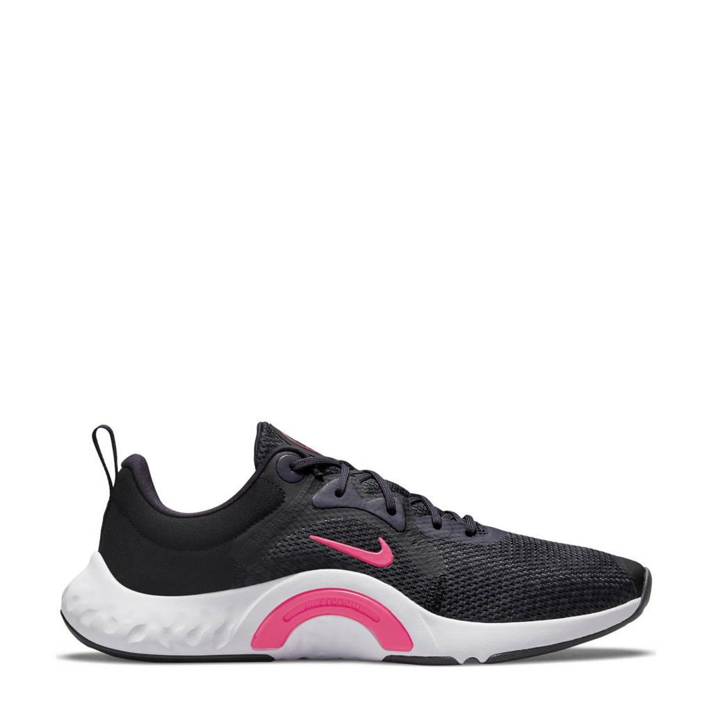 Nike Renew In-Season Tr 11 fitness schoenen zwart/roze/paars, Zwart/roze/paars