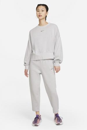 cropped regular fit broek met logo lichtgrijs