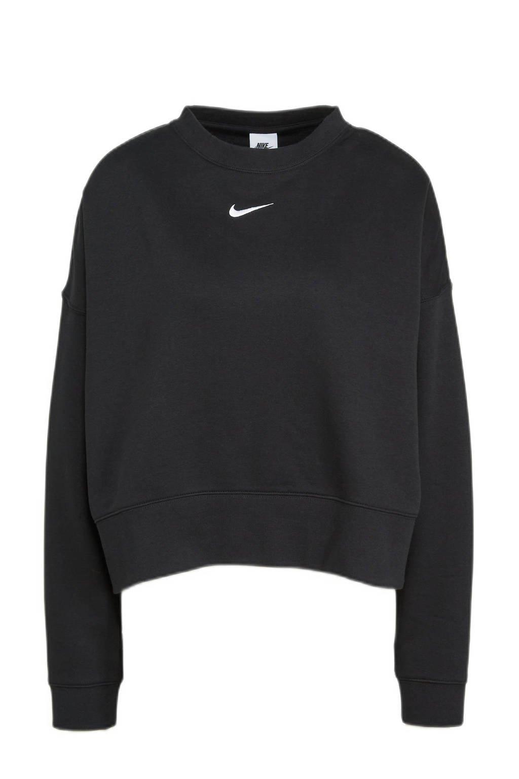 Nike fleece sweater met logo zwart, Zwart