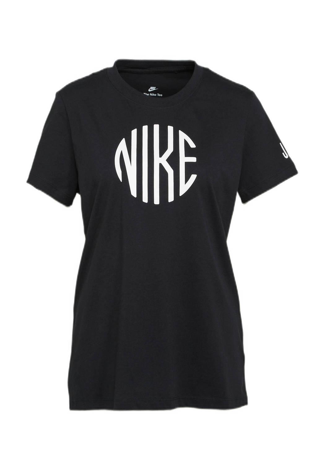 Nike T-shirt met printopdruk zwart/wit, Zwart/wit