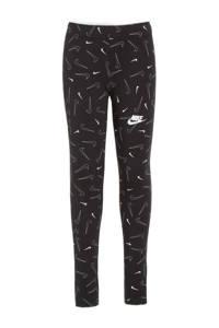 Nike slim fit broek met all over print zwart, Zwart
