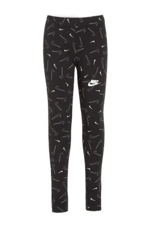 slim fit broek met all over print zwart
