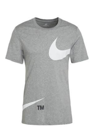 T-shirt met printopdruk grijs melange/wit