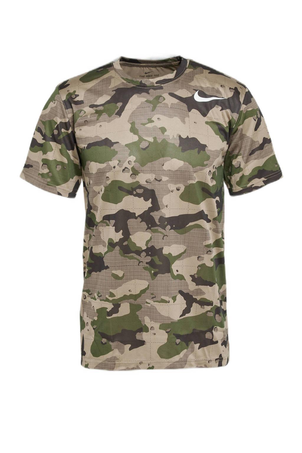 Nike   sport T-shirt groen/beige, Groen/beige