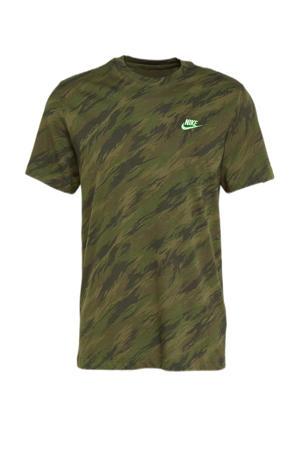 regular fit T-shirt met camouflageprint groen
