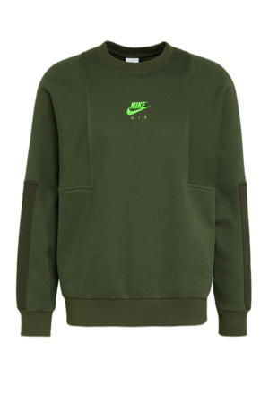 sweater met logo groen/limegroen