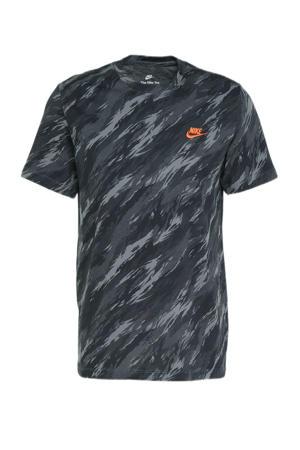 T-shirt met camouflageprint grijs
