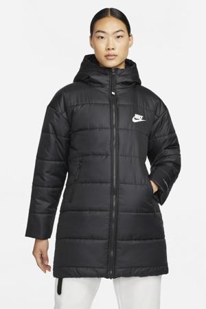 gewatteerde jas met logo zwart