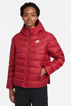 gewatteerde jas met logo rood