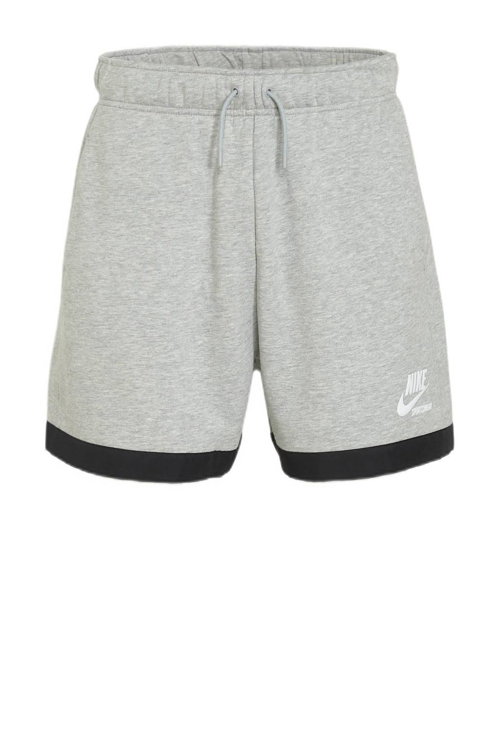 Nike fleece wide leg sweatshort met logo grijs melange/zwart, Grijs melange/zwart